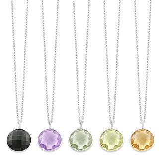Fremada Sterling Silver Round Gemstone Pendant Necklace (Smokey Quartz, Pink Amethyst, Green Amethyst, Lemon Quartz, Citrine)