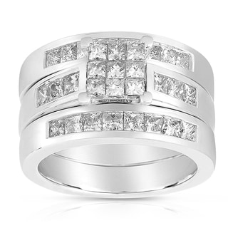 14k White Gold 2ct TDW Diamond 3-Piece Bridal Set (H-I, I1-I2)