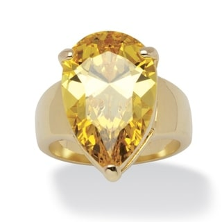 PalmBeach 15 1/2ct TCW Pear-Cut Yellow Cubic Zirconia Ring Color Fun