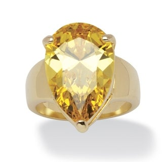 PalmBeach 15.47 Carat Yellow Pear-Cut Cubic Zirconia Ring 14k Gold-Plated Color Fun
