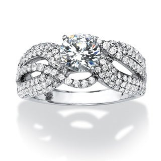 Ultimate CZ Platinum over Silver 3ct TCW Cubic Zirconia Ring