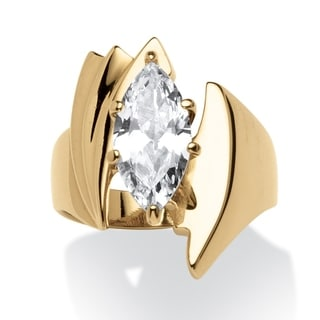 PalmBeach 2.48 TCW Marquise-Cut Cubic Zirconia Angled Ring Gold Ion Plated Glam CZ