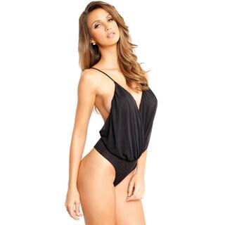 Rene Rofe Black Mesh Drape Bodysuit