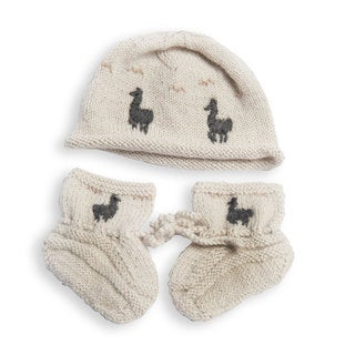 Hand-knitted Alpaca Llama Hat and Booties (Bolivia)