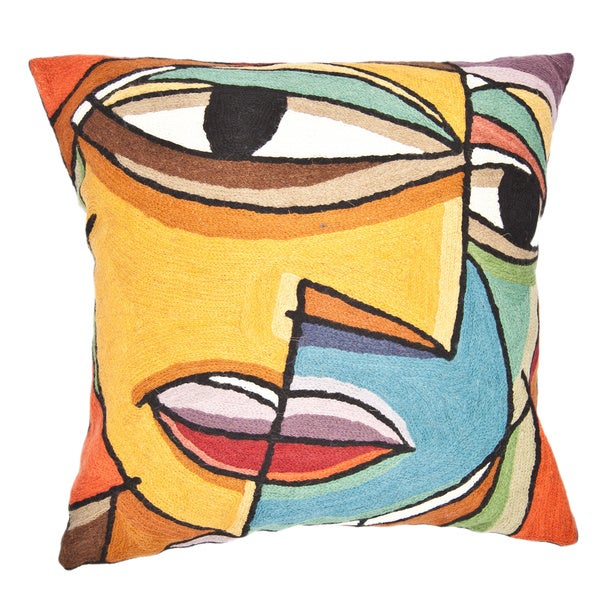Handmade Abstract Face Throw Pillow (India)