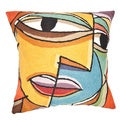 Handmade Abstract Face Throw Pillow Cover (India)
