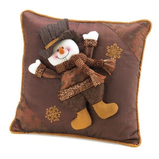 Golden Sparkle Snowman Pillow