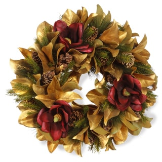Goldleaf Holiday Magnolia 27-inch Wreath