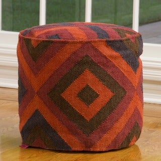 Christopher Knight Home Kara Red/ Multi Geometric Wool Pouf Ottoman