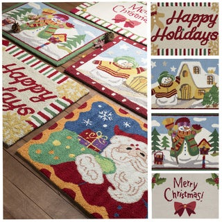 """Hand-Hooked Merry Christmas Happy Holidays Accent Rugs-(1'8 x 2'5"""")"""