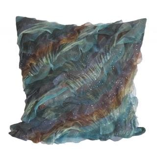 Debage Breezy Wave Blue and Brown Throw Pillow