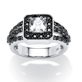 Ultimate CZ Platinum over Silver 1 3/4ct TCW Black and White Cubic Zirconia Ring