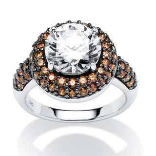 PalmBeach 4.46 TCW Round Chocolate Cubic Zirconia Halo Ring in Platinum over .925 Sterling Silver Glam CZ