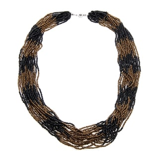 Multi-strand Bronze Stripe Beaded Necklace (Uganda)