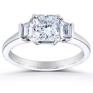 Annello 14k Gold Certified 1 1/5ct TDW Radiant Cut Three Stone Diamond Ring (H, SI1)