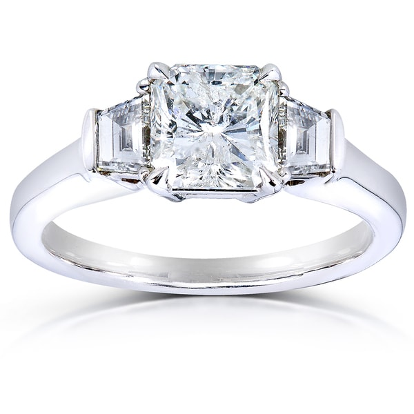Annello 14k Gold Certified 2ct TDW Radiant Cut Three Stone Diamond Ring (I, I1)