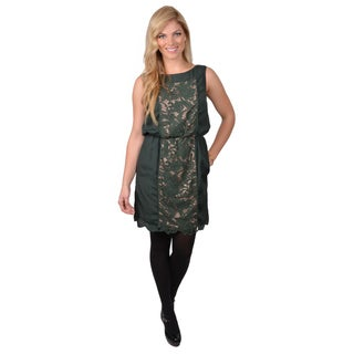 Jessica Simpson Women's Sleeveless Lace Panel Blouson Dress