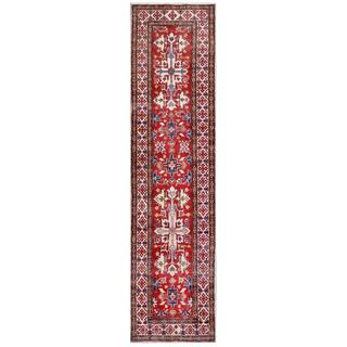 Afghan Hand-knotted Kazak Red/ Ivory Wool Rug (2'7 x 10'8)