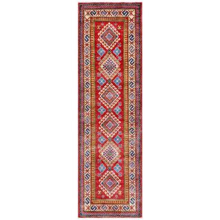 Afghan Hand-knotted Kazak Red/ Blue Wool Rug (2'7 x 9'3)