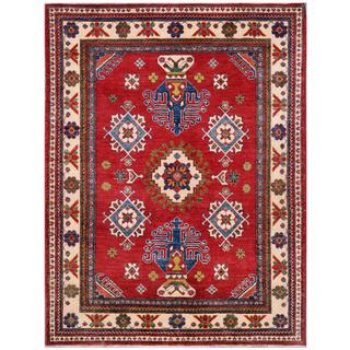 Afghan Hand-knotted Kazak Red/ Ivory Wool Rug (4'10 x 6'4)
