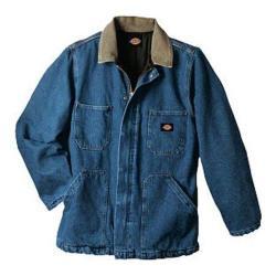 Men's Dickies Denim Zip Front Chore Coat Stone Wash Blue
