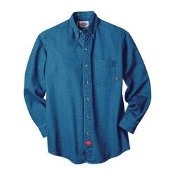 Men's Dickies Long Sleeve Denim Work Shirt Tall Navy Combo