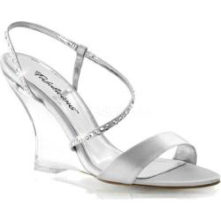 Women's Fabulicious Lovely 417 Silver Satin/Clear