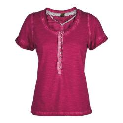 Women's Ojai Clothing Raw Edge Henley Cherry Jubilee
