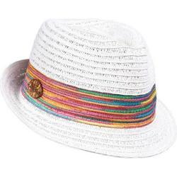 Women's Panama Jack Paper Braid Fedora w/Multicolored Band White