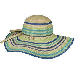 Women's Panama Jack Striped Paper Braid Sun Hat Turquoise
