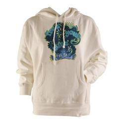 Women's Peace Frogs Free Your Mind Junior Hooded Pullover Sweatshirt White