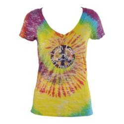 Women's Peace Frogs Live, Laugh, Love Tie Dye V-Neck Burnout Tee Tie Dye