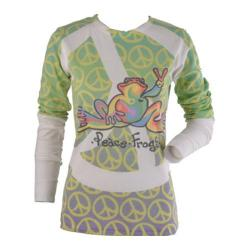 Women's Peace Frogs Long Sleeve Retro Peace Sign Sublimated T-Shirt White