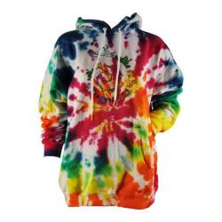 Women's Peace Frogs Spiral Tie-Dye Hooded Pullover Sweatshirt Rainbow