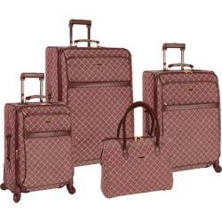Pierre Cardin Signature Spinner 4 Piece Luggage Set Burgundy