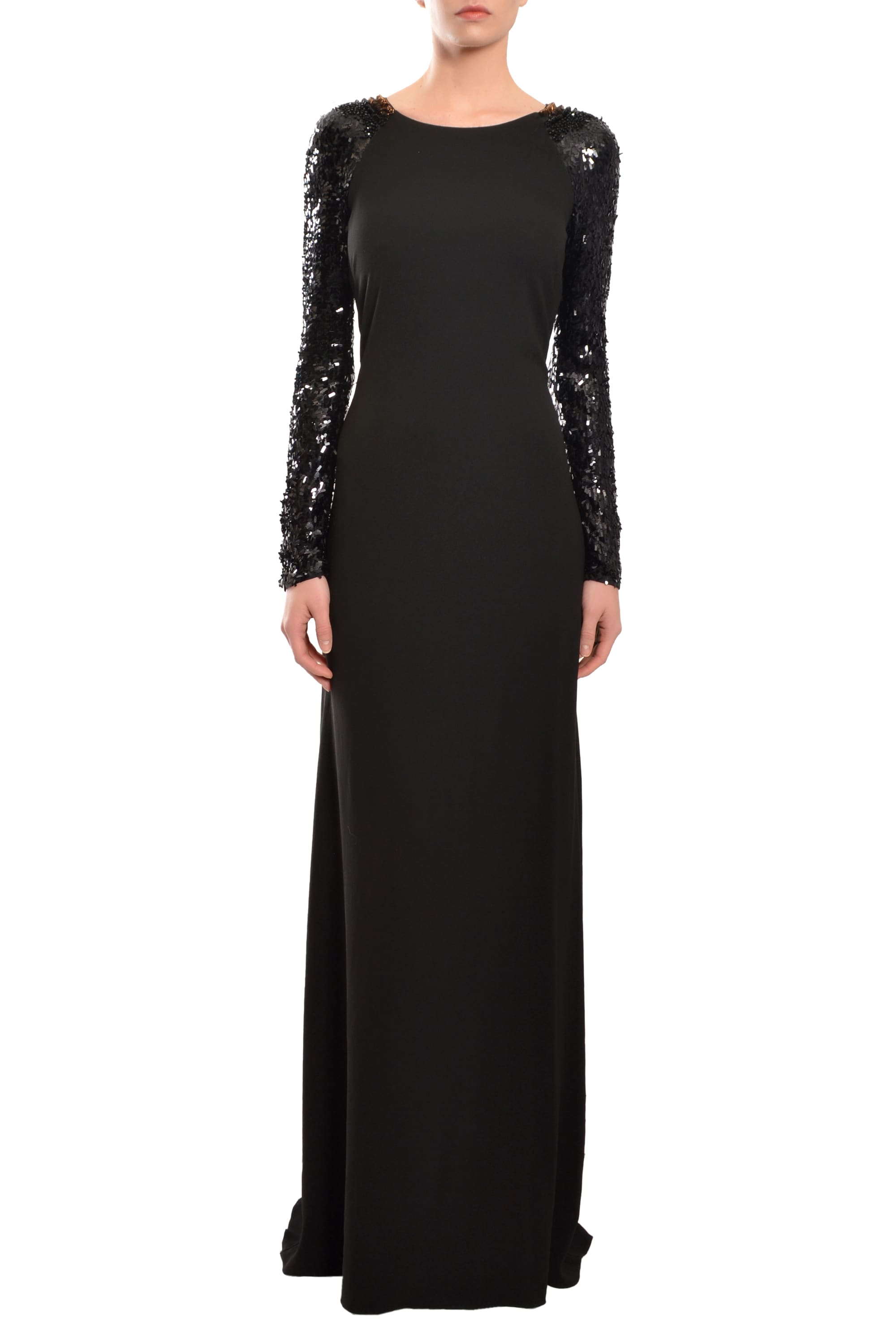 Halston Heritage Black Embellished Crepe Evening Dress