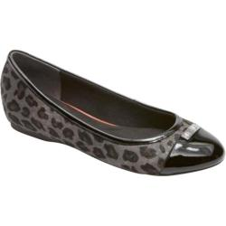 Women's Rockport Total Motion 20mm Cap Toe Ballet Grey Leopard Print Hair On Leather/Patent Leather