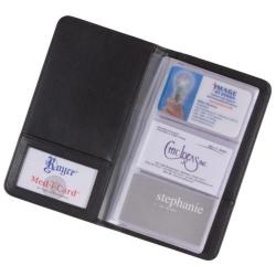 Royce Leather 3-Up Business Card File 414-5 Black Leather