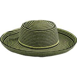 Women's San Diego Hat Company Paperbraid Large Brim Hat PBL1 Black/Coffee Stripe