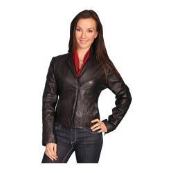 Women's Scully Leather Whip Stitch Design Lamb Jacket L1 Black Lamb