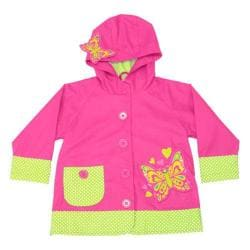 Girls' Western Chief Butterfly Star Raincoat Pink
