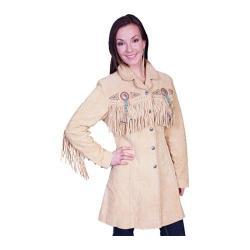 Women's Scully Leather 3/4 Length Boar Suede Coat L615 Chamois Boar Suede