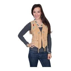 Women's Scully Leather Beaded Suede Vest L169 Old Rust