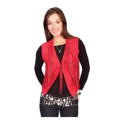 Women's Scully Leather Boar Suede Vest L302 Red Boar Suede