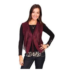 Women's Scully Leather Boar Suede Vest L302 Ruby