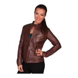 Women's Scully Leather Croco Print Burnished Lamb Jacket L635 Chocolate