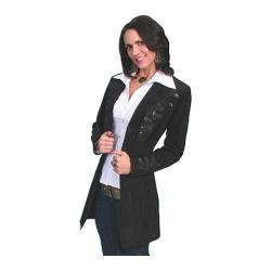 Women's Scully Leather Floral Embroidered Mid-Thigh Length Coat L231 Black Boar Suede