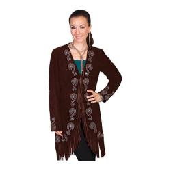 Women's Scully Leather Fringe Embroidered Suede Coat L165 Expresso Boar Suede