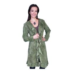 Women's Scully Leather Knee Length Boar Suede Ruffle Coat L504 Olive
