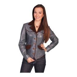 Women's Scully Leather Lamb Jacket L644 Blue Lamb